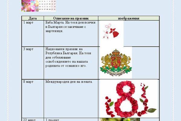Празници през март - 2 клас